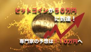 ビットコインが50万円に到達!〜専門家の価格予想が110万円へ