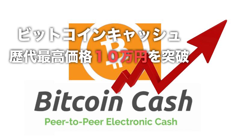 ビットコインキャッシュ(BitcoinCash)が価格高騰!〜10万円を記録!!