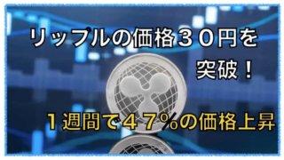 リップルが30円を突破!1週間で47%の価格上昇。