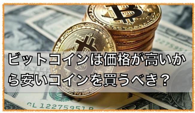 ビットコインより価格が安いアルトコインを買った方がいい??